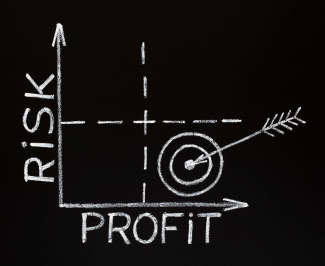 Risk and PRofit chart on blackboard