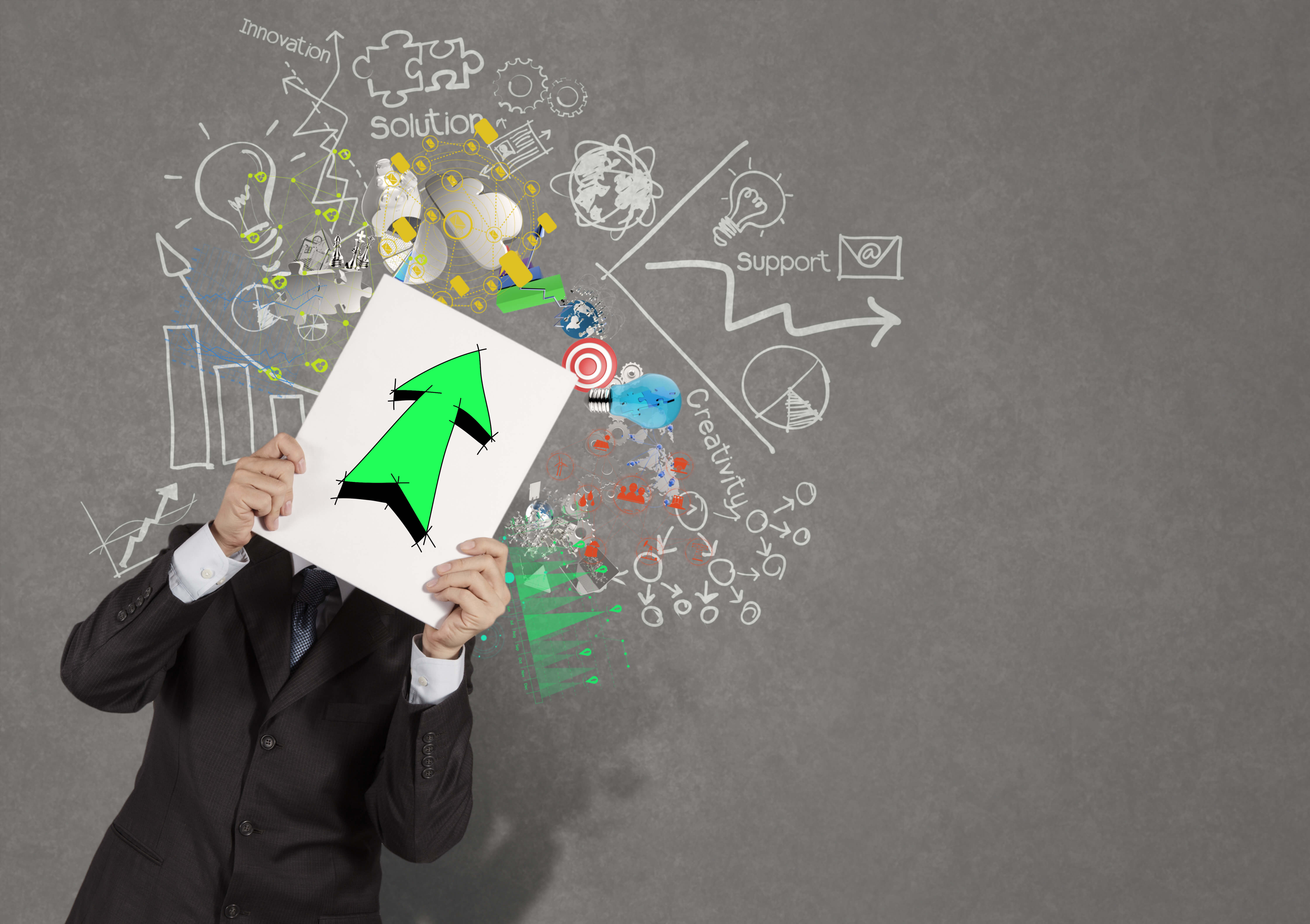 businessman holding book with green up arrow sign on business strategy background as concept