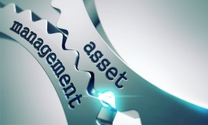 Two gears with the words asset and management