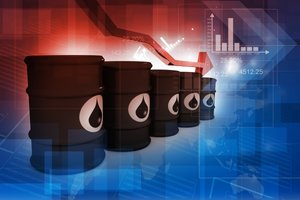 Oil Barrels in front of Stock chart