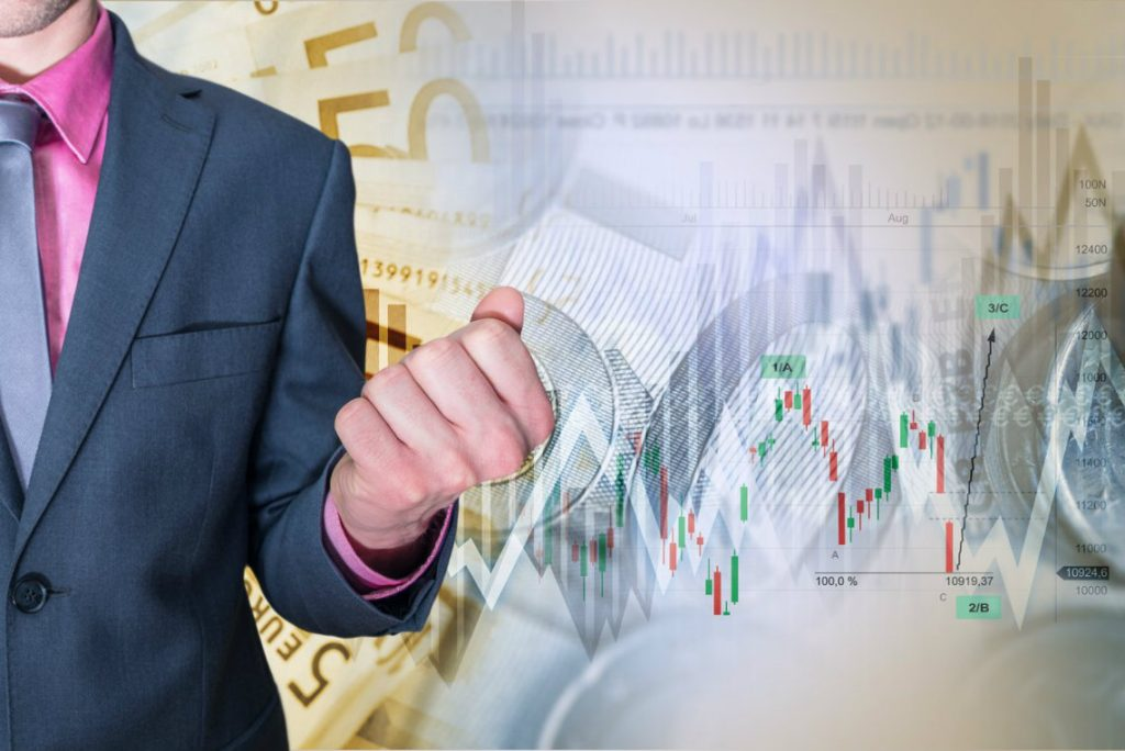 Business Person in front of stock chart representing brexit effect